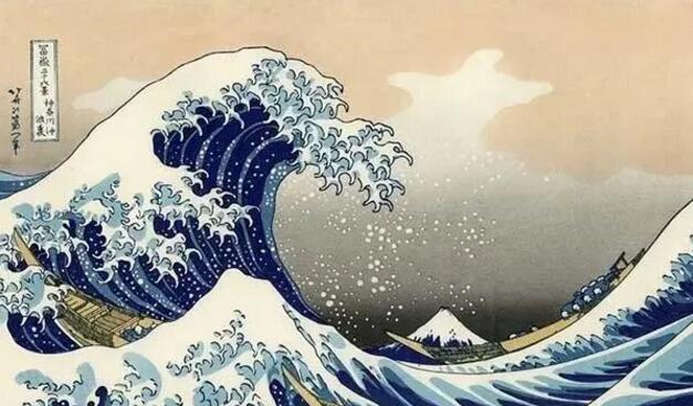 葛饰北斋 《神奈川冲浪里》 版画 25.7×37.9cm